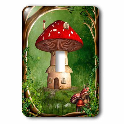3drose Dwarf House 1 Gang Toggle Light Switch Wall Plate In 2021 Stuffed Mushrooms Land Art Plates On Wall