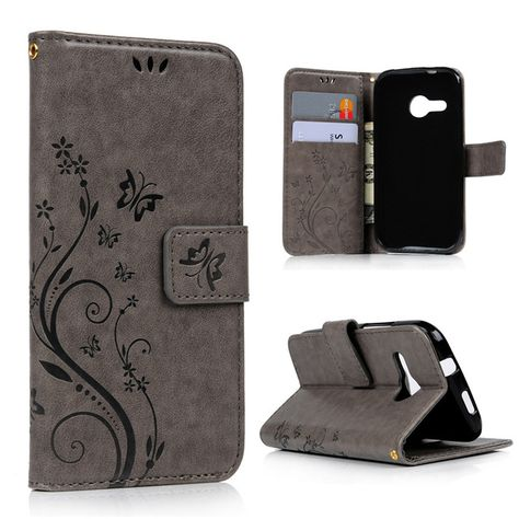 Cover Shell for HTC M8 mini Retro Business Card Leather Case Wallet Book Style Flowers Printing Skin Fundas for HTC One Mini 2