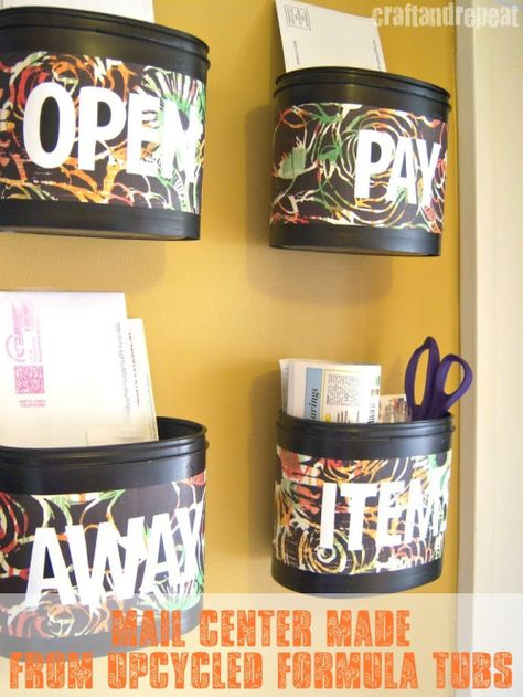 DIY Upcycled Formula Tubs - Mail Center | Click for tutorial
