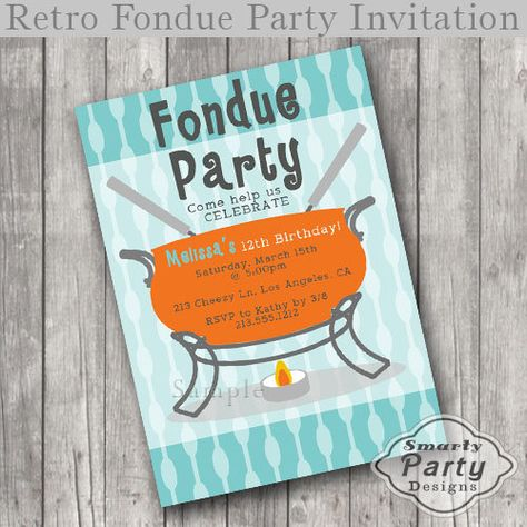 Chocolate Fondue Girls Birthday Party Invitations Party – Fondue Party Invitations