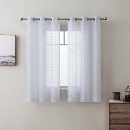 Better Homes Gardens Clipped Pom Pom Window Curtain Panel Set