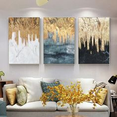 3 pieces Originl Abstract gold leaf waterfall black and white Acrylic Painting On Canvas Art Wall Pi
