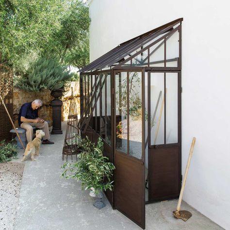 Anlehngewächshaus aus Metall mit Rosteffekt, H 245cm Tuileries