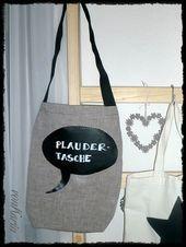Chatting bag with blackboard film - HANDMADE Kultur Spruchreifer Einkaufsbüddel ..., #bag #blackboard #Chatting #Einkaufsbüddel #film #handmade #Kultur #Spruchreifer