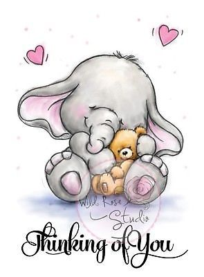 Elephant Bella With Teddy Unmounted Rubber Stamp Wild Rose Studio Cl319 New Elephant Drawing Friends Illustration Hug Quotes