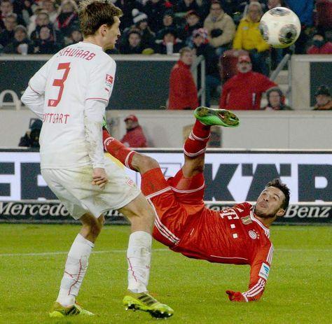Thiago Alcantara of FC Bayern Munich against Stuttgart