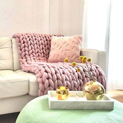 Xl Merino Wolldecke Cosima Chunky Knit Pale Pink Decke Stricken