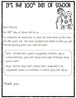 Mrs Jump's class: Letter for 100th Day