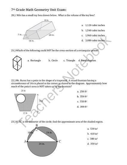 Cross Section Worksheet 7th Grade Geometry Unit Exam 7th Grade From Math Maker On 7th Grade Math 7th Grade Math Worksheets Common Core Math Worksheets Cross section worksheet 7th grade