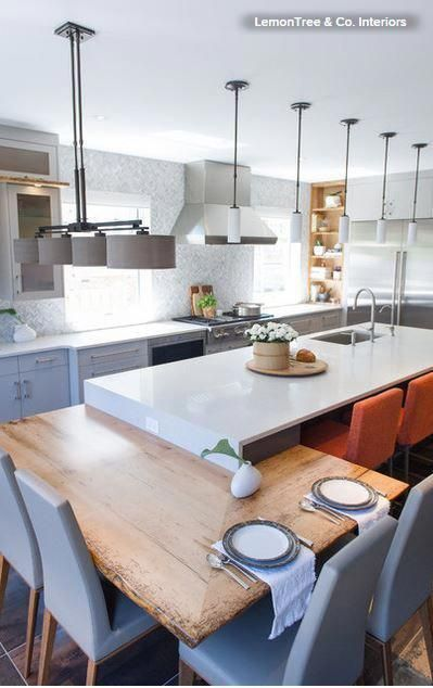 A Kitchen Island With Integrated Seats Is A Terrific Option If You Are Into Breakfast Nooks Y Kitchen Design Small Kitchen Island Table Interior Design Kitchen