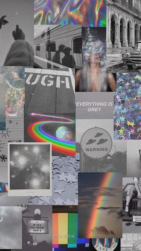 Grey and rainbow aesthetic wallpaper