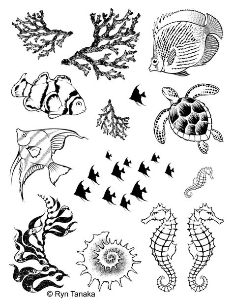 """Designs by Ryn - Unmounted Rubber Stamp Sheet - Sea Creatures 1 (8.5""""x11"""" sheet)"""
