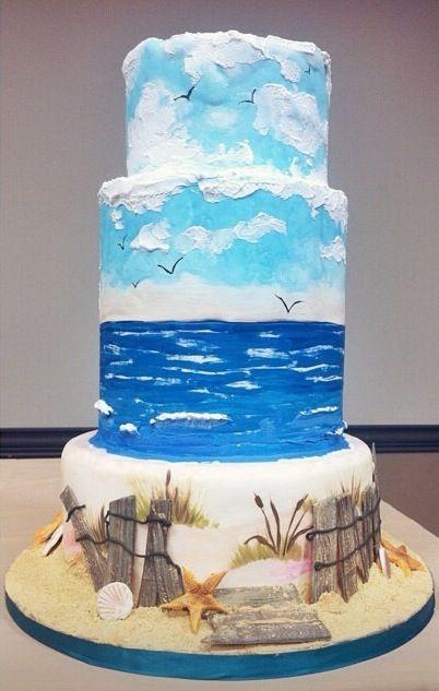 Beach themed cake by Fine Arts Bakery