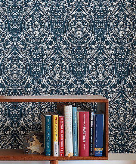 Wallpops Indigo Bohemian Damask Wallpaper Zulily Damask Wallpaper Self Adhesive Wallpaper Peel And Stick Wallpaper
