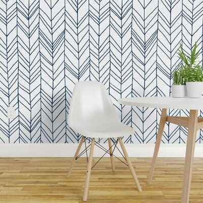 Ivy Bronx Thurston Removable Wallpaper Panel Size 108 L X 24 W Color Blue White Removable Wallpaper Peel And Stick Wallpaper Wallpaper Panels
