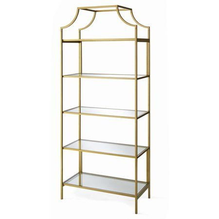 Home Gold Shelves Etagere Bookcase Guest Bedroom Decor
