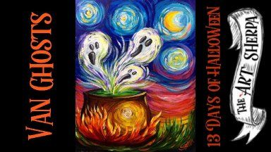 Art Sherpa 13 Days Halloween 2020 Van Ghosts Easy Acrylic Painting Step By Step 13 Days Of Halloween