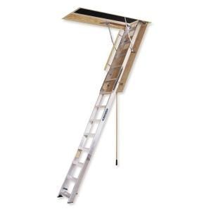 Werner 12 Ft X 25 In X 65 In Aluminum Attic Ladder High Ceiling Extra Wide Opening Ah2512 At The Home Depot Atticbedroomdesigns