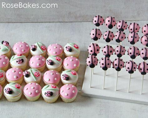 Pink Ladybug Cupcakes & Cake Pops