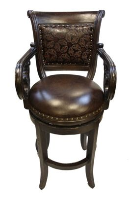 Embossed Leather Old World Bar Stool
