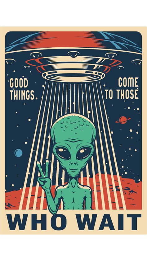 Space Poster Design with the Alien and the UFO