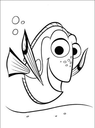 Free Coloring Pages Etyho: Finding Nemo Coloring Pages Ideas : Dory Happy | 500x370