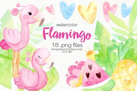Watercolor Pink Flamingos Clipart (1346491) | Illustrations | Design Bundles