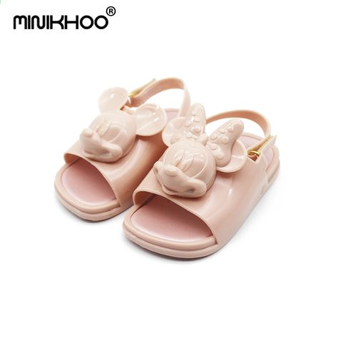 5064aea0583 Mini Melissa 2018 3D Mickey   Minnie Jöle Ayakkabı Kız Sandalet Yumuşak  Konfor Yürüyor Sandalet Melissa