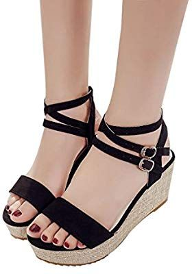 b040ba146ce5c Amazon.com: Hemlock Lady Slope Sandals Loafers Shoes High Wedge ...