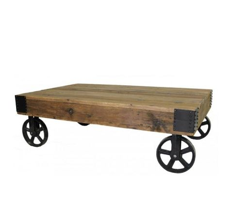 Large Industrial Mill Cart Coffee Table: If your committed to the industrial chic style then this coffee table is for you. These types of carts are still found in factories today doing what they do best – moving heavy things. Riveted iron corner braces accent the top and iron cast wheels support the top. No need to pamper the Industrial Mill Cart Coffee Table, you can definitely put your feet up on it, the unfinished pine top just get better with age and wear.
