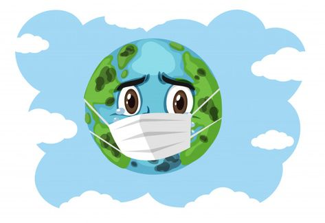 Crying Earth Wearing Mask On Blue Sky In 2020 Cartoon Globe Earth Drawings Art Drawings For Kids