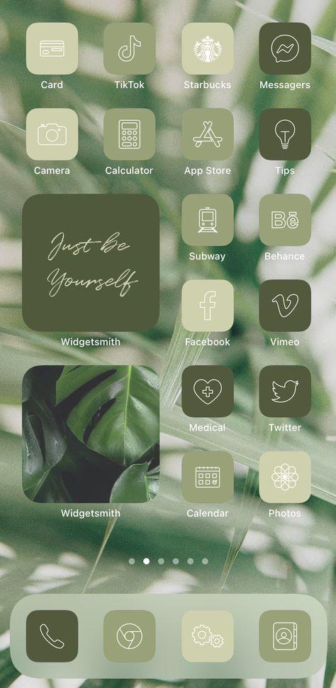 Green Aesthetic iPhone iOS 14 App Icons