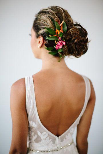 Tropical Flower Bride Hair Style Muse By Berta Wedding Dress