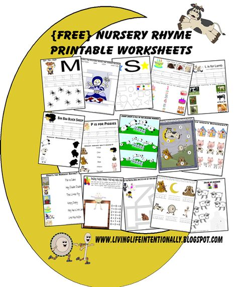 {FREE} Nursery Rhyme Worksheets and Lapbook