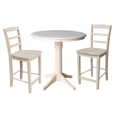 36 Round Pedestal Counter Height Table With 2 Madrid Stools