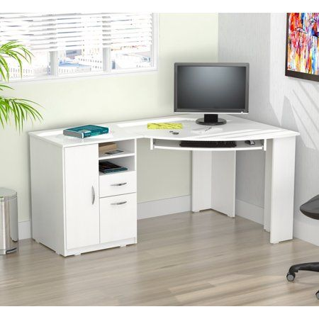 Inval Laminate L Shaped Corner Office Desk With 2 Drawers Washed Oak Walmart Com White Corner Desk Corner Computer Desk White Corner Computer Desk