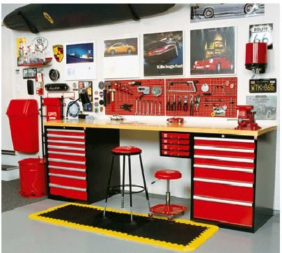 Layout With Two Cabinets On Each Side Of The Workbench