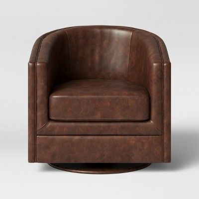 Imax Wagner Leather Barrel Chair In 2020 Brown Leather Chairs Leather Chair Upholstered Chairs