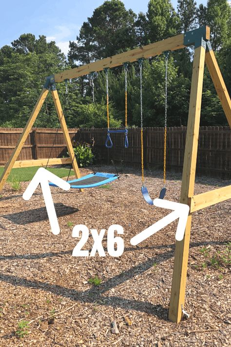 DIY Swing Set for kids (and adults too). A simple and easy building idea for a sturdy swing set that you can build for less money than buying. Backyard Swing Sets, Diy Swing, Backyard For Kids, Backyard Projects, Outdoor Swing Sets, Backyard Chickens, Kids Outdoor Play, Kids Play Area, Outdoor Toys