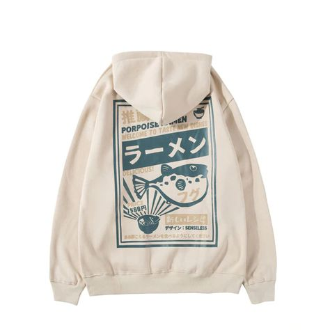 Puffer Fish Ramen Print Fleece Hip Hop Sweatshirt Hoodie SF – loveitbabe
