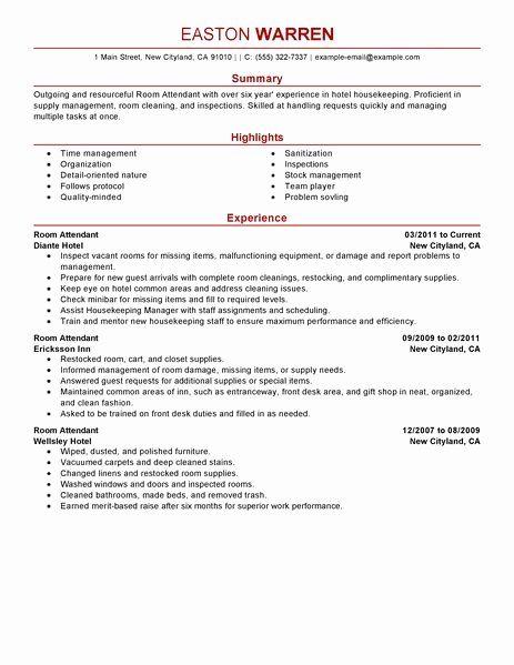 Gym Front Desk Resume Fresh Room Attendant Resume Examples Good Resume Examples Resume Examples Resume