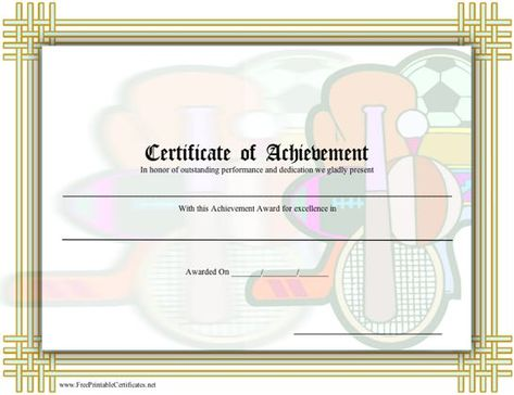 This general printable certificate of achievement in sports (or - printable certificates of achievement
