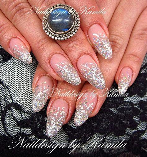 Silver glitter acrylic gradient fade nail design