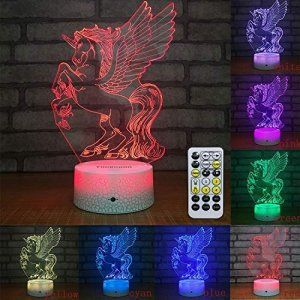 3d Night Light Lamp Unicorn Light 3d Illusion Night Light Remote Control Night Light 3d Night Light Novelty Lamps Kids Desk Lamp