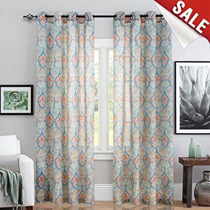 Jinchan Damask Print Curtains For Living Room Drapes Multicolor