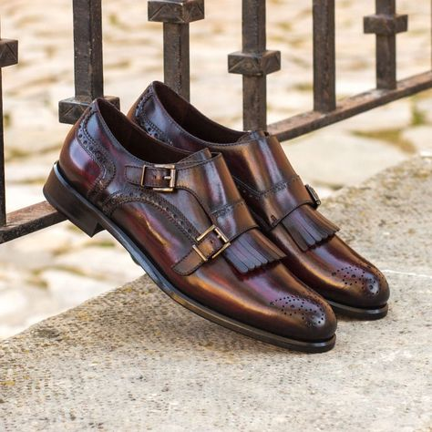 Custom Made Women's Kiltie Monkstrap in Italian Raw Crust Leather with a Burgundy Hand Patina From Robert August. Create your own custom designed shoes.#shoes #shoesoftheday #dapper #menswear #mensfashion #luxurylifestyle #success #hot #style #bespoke #luxury .