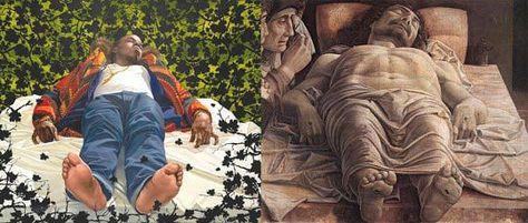 À gauche, Kehinde Wiley, The Lamentation Over the Dead Christ, 2008, oil on canvas, 131 x 112 inches © Kehinde Wiley. À droite, Andrea Mantegna, Lamentation sur le Christ mort, tempera sur bois, vers 1480-1490, 68 x 81 cm
