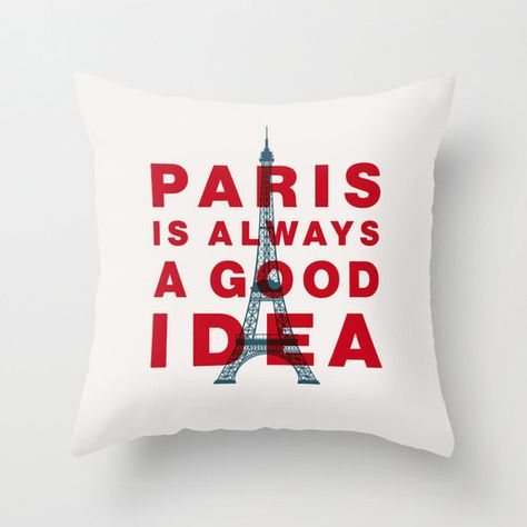 Audrey Hepburn Typography Pillow Paris Is by TheMotivatedType