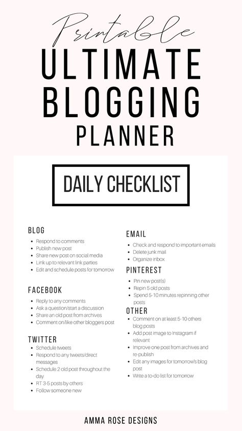 I designed printable sheets that were dedicated specifically to growing a blogging business.Not only are there monthly and weekly editorial calendars, but there is also designated pages for each aspect of a blogging business: a social media schedule, checklists for before and after publishing a post, a post-layout guide, SEO Guide, email marketing planner, content manager, and so much more!