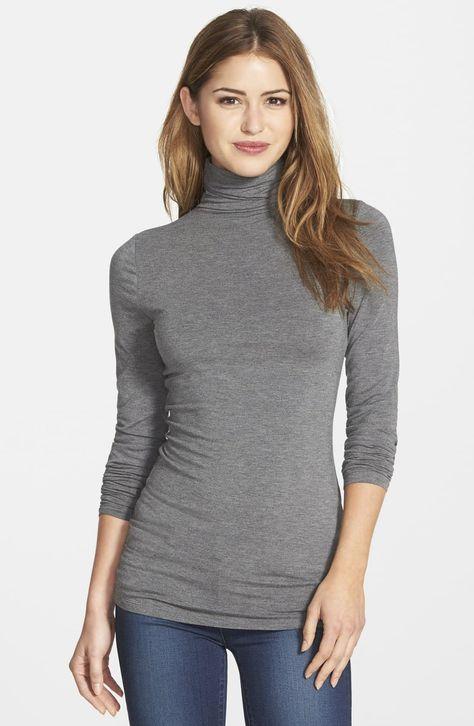 Women's Halogen Long Sleeve Turtleneck, Size Large - Grey